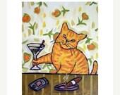 20% off SALE orange cat, ginger cat, tabby cat, martini - art - print - 11x14 print , martini bar, wall art , abstract folk modern pop
