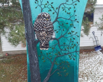 Barred Owl in a Tree Sculpted with Polymer Cay onto an Upcycled Glass Art Vase in Teal and Turquoise