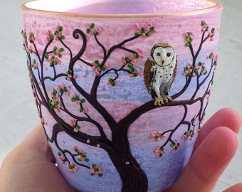 Tiny Barn Owl in a Spring Blossom Tree Sculpted with Polymer Clay onto a Recycled Glass Candle Holder in Sunset Colors