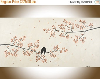 """Contemporary wall art copper art copper wall decor 48"""" large Love birds canvas painting wall hangings canvas art """"Just Us"""" by qiqigallery"""