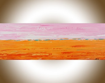 Orange pink turquoise Abstract landscape painting original art canvas art wall Decor home decor office wall art wall hanging by qiqigallery