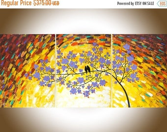 "54"" Extra Large painting purple flowers birds painting Wall decor Wall art wall hanging canvas painting ""Magic Love"" by qiqigallery"