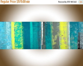 """72"""" extra large wall art Abstract painting original artwork painting on canvas home decor turquoise blue green yellow grey by qiqigallery"""