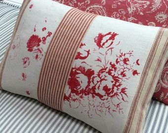 Cottage Shabby Chic Down Pillow/ReD RoSeS/LinEN 16x12/ShaBBY ChiC/Lumbar PILLOW/Urban Loft/Bedroom/Farmhouse