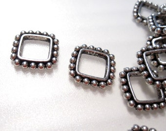 50% Off 20pcs Antique Silver Square Beaded Spacer Beads, 11x11mm o.d. 8x8mm i.d. Square Spacer beads MB1083 J16