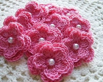 Crochet Double Layered Flowers set of 10 in Tropical Pink