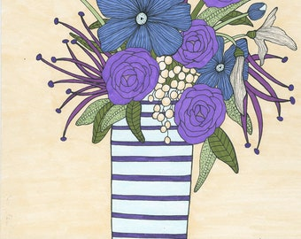 Tranquil Blossoms Art Print, Bouquet, Flowers, Mother's Day, Wall Art