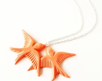 Clearance Sale Peach orange vintage plastic swallow love birds silver necklace