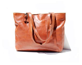 Brown Italian Leather Large Tote Bag