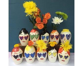 Heart sunglasses face vase group sets