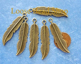 6 pcs Antique Bronze Feather Long Pendant Charm Beads, Double Sided,  45.5x11mm, DR419