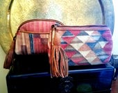 Set of 2 Kilim and Leather Beauty Bags