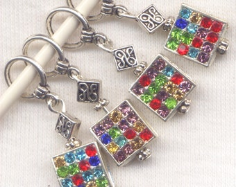 Be Jeweled Knitting Stitch Markers Rainbow Rhinestone Bling Set of 4/SM166