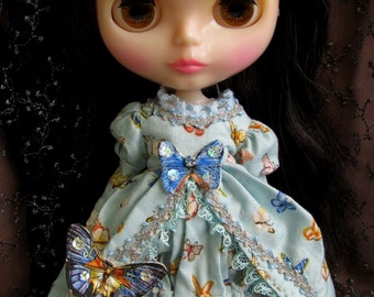 Long Blue butterflies cotton broderie Victorian style Dress for 12 inch Blythe dolls