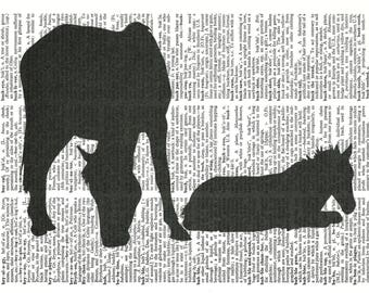 Horse Silhouette Illustration-Vintage Dictionary Art Print---Fits 8x10 Mat or Frame