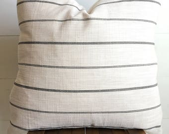 "Sea Salt textured linen blend light linen/cream & black stripe 20""x30"" pillow cover / farmhouse / modern/ boho"