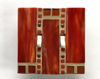 Red Decorative Switchplate, Decorative Light Switch Covers, Double Toggle Switch Plate, Glass Light Switch Plate, Stained Glass Mosaic, 8565