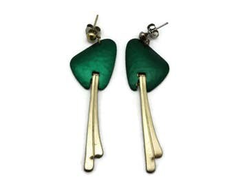 Mid Century Modern Earrings - Long Dangles, Green and Gold Finish, Costume Jewelry