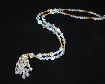 Tassel Necklace - Gold Filigree and AB Crystal Beads 1960s 1970s Costume Jewelry