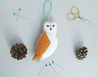 Barn owl hanging decoration - felt bird gifts - handmade owl decor