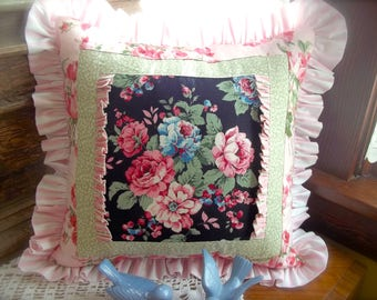 Cottage Chic Pillow~Cottage Pillow~Shabby Elegant Pillow~Shabby Cottage Pillow~Cottage Decor~Shabby Pink Roses~Shabby Blue Roses