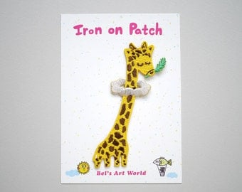 Giraffe in the cloud Iron On Patch