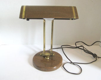 Vintage Mid Century Brown Metal Desk Table Task Lamp Light