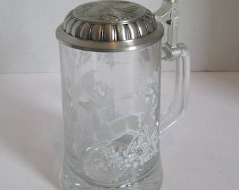 Etched Glass German Stein with Deer Oak Acorn Germany Original Label