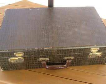 Vintage Imitation Snake Skin Suit Case Storage Case