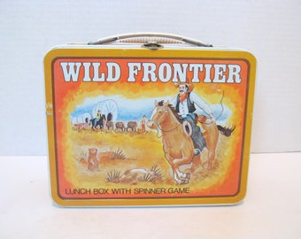 Vintage Wild Frontier Ohio Art Metal Lunch Box With Spinner Game 1977