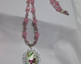 Pink Butterfly/Dragonfly Necklace