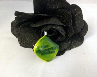 Fused Glass Pendant-Rich Grean Tones
