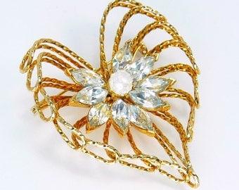 Mid Century Rhinestone Heart Brooch Gold Wire Rope & Pearl Brooch