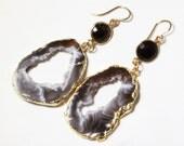 Black Ocho Black Onyx Geode Earrings Agate Druzy Gold Raw Stone Earrings Oco Crystal One of a Kind Raw Stone Earrings AS-E-106-Ocho-Blk-009g