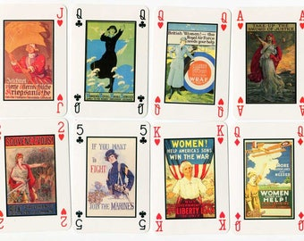 8 First World War Posters Scenes Playing Cards for Crafting, Scrapbooks, Journals, Posters w Women