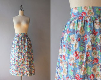 1930s Skirt / Vintage 30s Floral Cotton Skirt / 1940s Floral Wrap Skirt S small