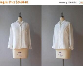STOREWIDE SALE 1950s Blouse / Vintage 50s Sheer White Cotton Batiste Blouse / 50s White Button Down Blouse medium M small S
