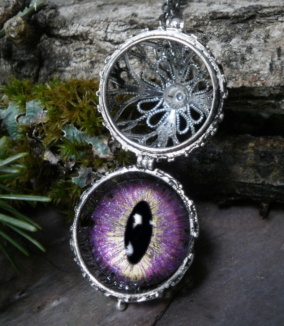 Gothic Steampunk Eye Ball Pendant with Pale Pink Eye