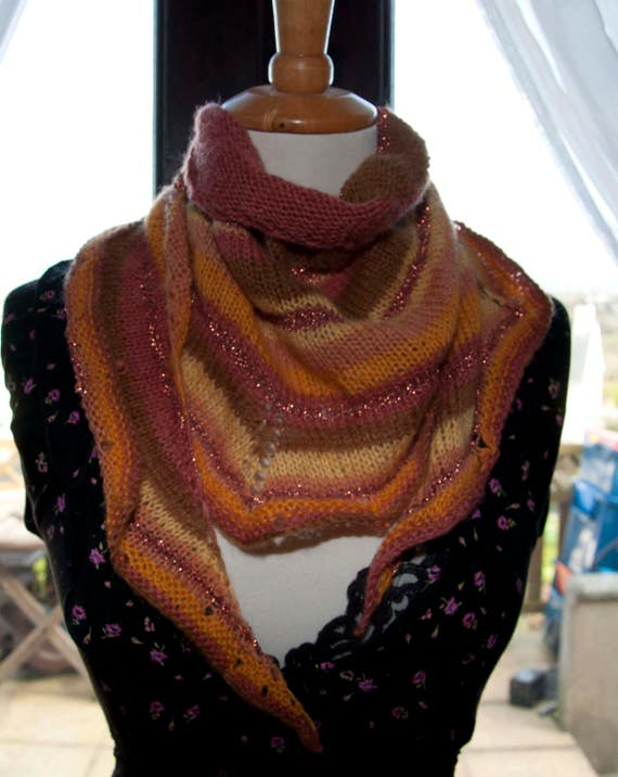 Handknitted Shawlette with a Bit of Glitz