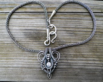 Fine Silver wire woven Pendant and Necklace with a Moissanite Focal