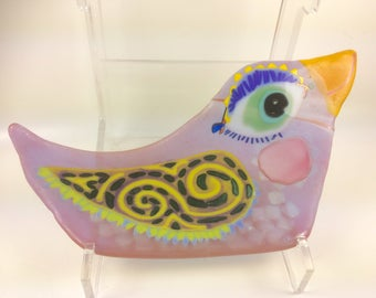 Colorful fused glass bird dish