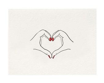 Heart Hand - Letterpress Art Print - Black and Red