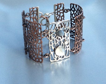 Handcut Sterling Silver and Copper Link Bracelet with Moonstones