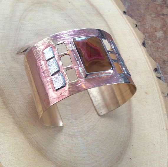 Brass and Sterling Silver Cuff Bracelet with Agate