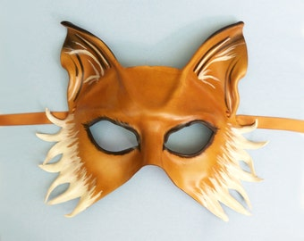 Leather Mask of a Fox or Dog costume Mardi Gras masquerade animal