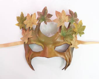 Smaller Size Tree Leather Mask  with Fabric Leaves fall colors greenman greenwoman forest Ent Groot Treebeard