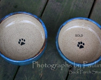 6 Inch Rustic Blue and Cream Pet Food Bowl Water Bowl