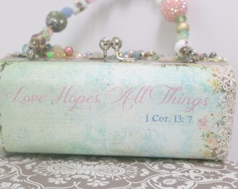 Love Hopes All Things . Beaded Evening Bag . 1 Cor. 13 . Scripture Bag . Bridal Clutch Bag . Pastel Bridal Clutch . Wedding Clutch Bag .