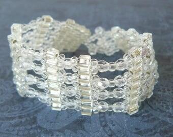 Clear Bead Bracelet, Sparkling Transparent Beadwork Cuff Bracelet, Beadwoven Jewelry, Ice Jewelry, Metal Free Bracelet