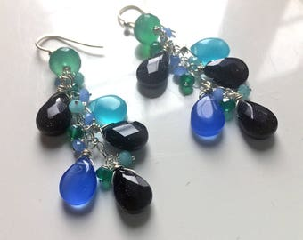 Blue Sandstone, Chalcedony, Green Onyx Earrings, Long Gemstone Earrings, Starlight Frolic Dangle Earrings